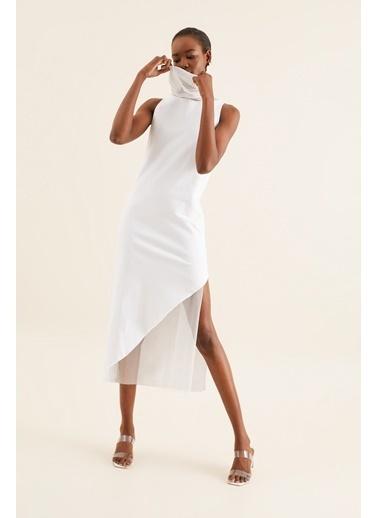 Quincey Tül Detay Tunik Elbise Beyaz